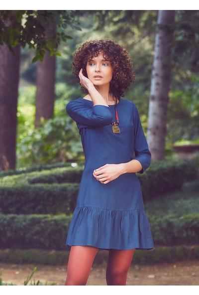 Clandestino Bohem Fırfır Detaylı Salaş Elbise Lacivert