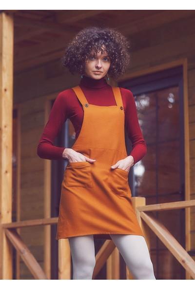 Clandestino Cep Detaylı Salopet Elbise Sarı