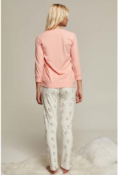 Kezokino 2401 Penguen Desenli Soft Koton Likralı Bayan Pijama Takımı