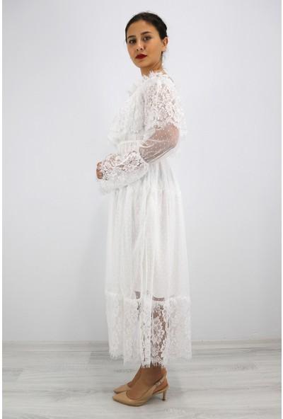 Skdress Güpür Detay Tül Kumaş Elbise