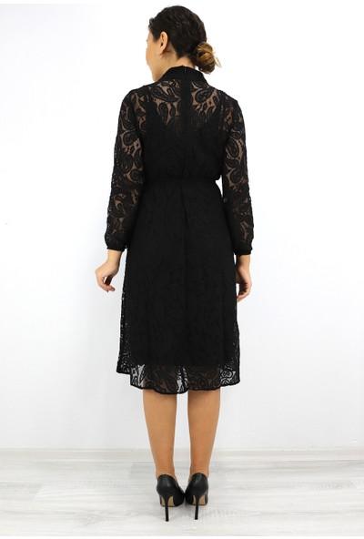 Skdress Atlas Kumaş Güpür Detaylı Elbise
