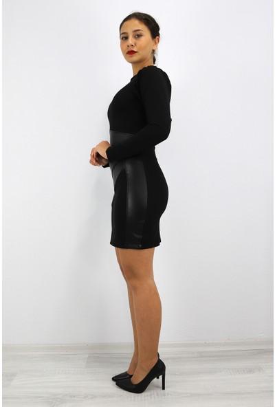 Skdress Atlas Kumaş Deri Detay Elbise
