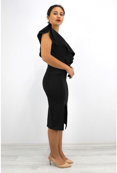 Skdress Atlas Kumaş Tek Omuz Elbise