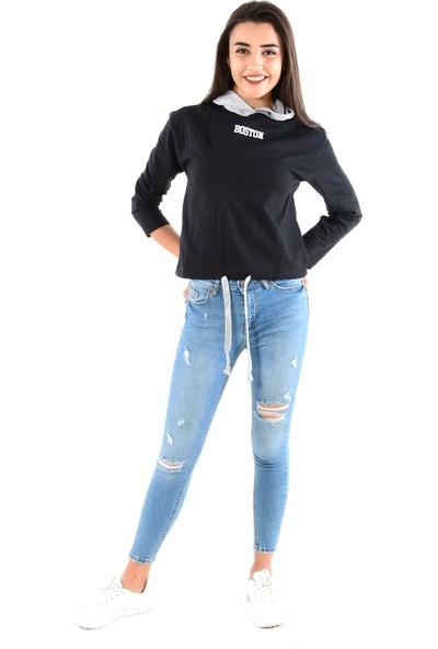 Modaplaza Kadın Kapüşonlu Bel Bağcık Detaylı Siyah Sweat 103Bk090019