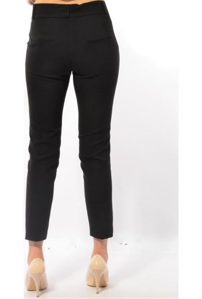 Modaplaza Kadın Dar Paça Bilekte Siyah Kumaş Pantolon