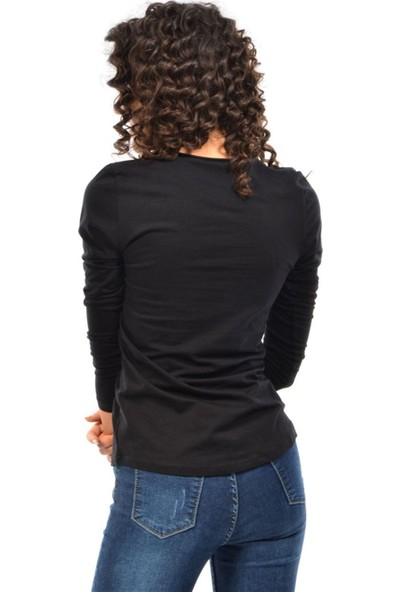 Modaplaza Kadın V Yaka Pis Dikim Cepli Siyah Body 101Bk010003