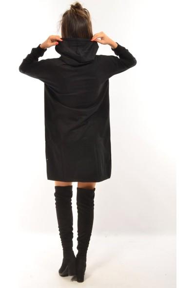 Modaplaza Kadın Kapüşonlu Siyah Uzun Sweat 111Bk250003