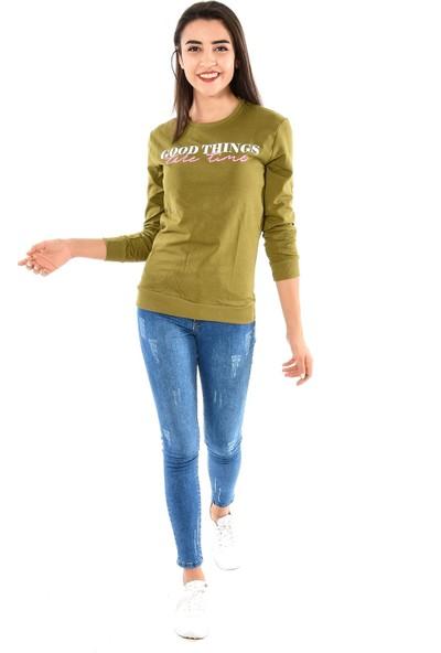 Modaplaza Kadın Önü Baskılı Haki Sweat 103Bk020226