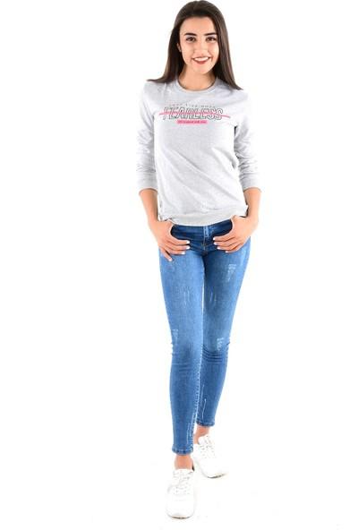 Modaplaza Kadın Önü Baskılı Gri Sweat 103Bk020266