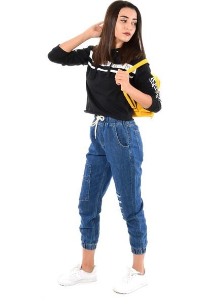 Modaplaza Kadın Kapüşonlu Baskılı Siyah Sweat 103Bk090018