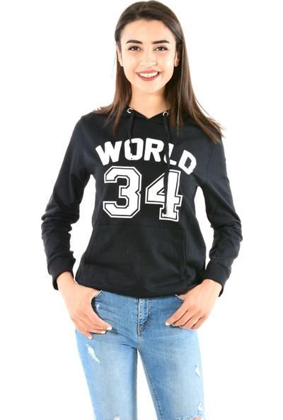 Modaplaza Kadın Kapüşonlu Önü Baskılı Siyah Sweat 103Bk090020