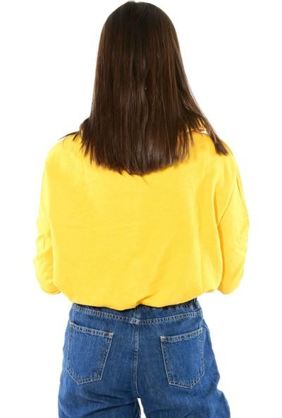 Modaplaza Kadın Kapüşonlu Önü Baskılı Sarı Sweat 103Bk490001