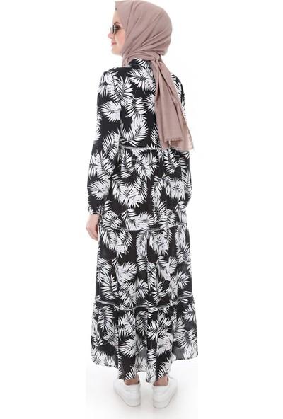 Modaplaza Kadın Yaka Bağcıklı Yaprak Desenli Siyah Elbise 1627