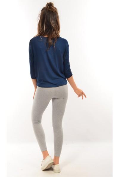 Modaplaza Kadın Kolları Şeritli Koyu Mavi Sweatshirt 102Byk06005