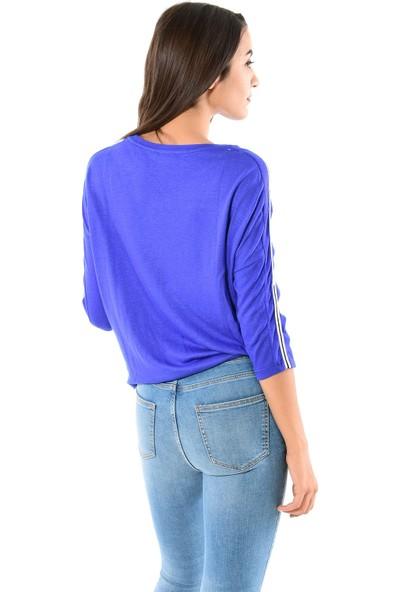 Modaplaza Kadın Kolları Şeritli Saks Mavi Sweatshirt 102Byk06005