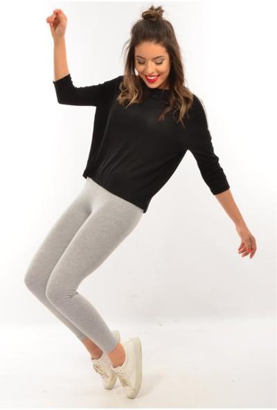Modaplaza Kadın Kolları Şeritli Siyah Sweatshirt 102Byk06005