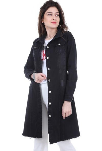 Modaplaza Kadın Cepli Uzun Siyah Kot Ceket 0618