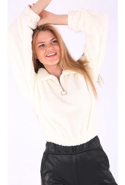 Modaplaza Kadın Yarım Patlı Beyaz Peluş Sweatshirt 55304