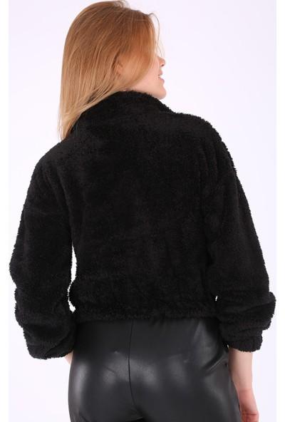 Modaplaza Kadın Yarım Patlı Siyah Peluş Sweatshirt 55304