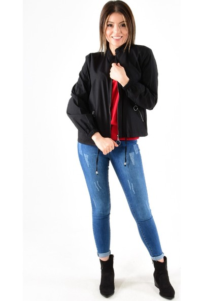 Modaplaza Kadın Fermuarlı Altı Bağcıklı Siyah Spor Ceket 7210