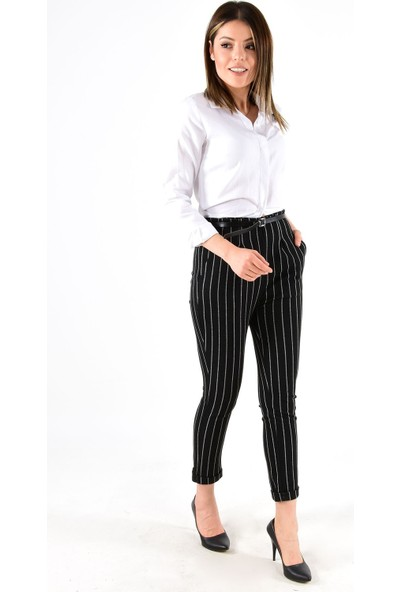 Modaplaza Kadın Çizgili Duble Paça Siyah Pantolon 14973