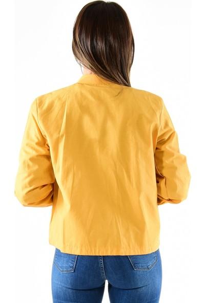 Modaplaza Kadın Fermuarlı Altı Bağcıklı Sarı Spor Ceket 7210