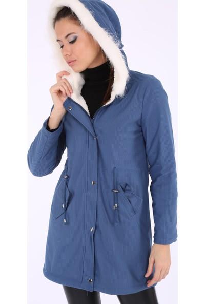 Akbaba Moda Kadın Big Dart 9073 Kadife Mont Mavi