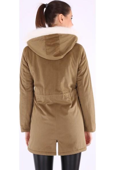 Akbaba Moda Kadın Big Dart 9073 Kadife Mont Vizon