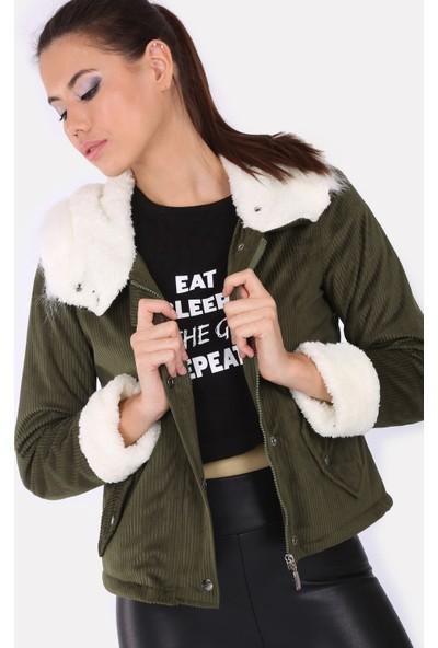 Akbaba Moda Kadın Big Dart 9072 Mont Haki