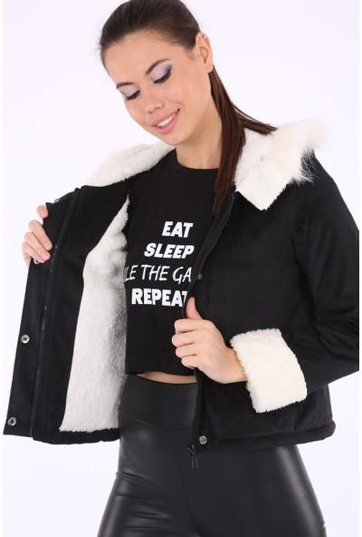 Akbaba Moda Kadın Big Dart 9072 Mont Siyah