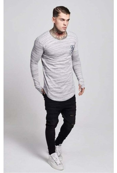 Siksilk Mens Crew Neck New Designer Curved Hem High Def Long Sleeve T-Shirt Tee