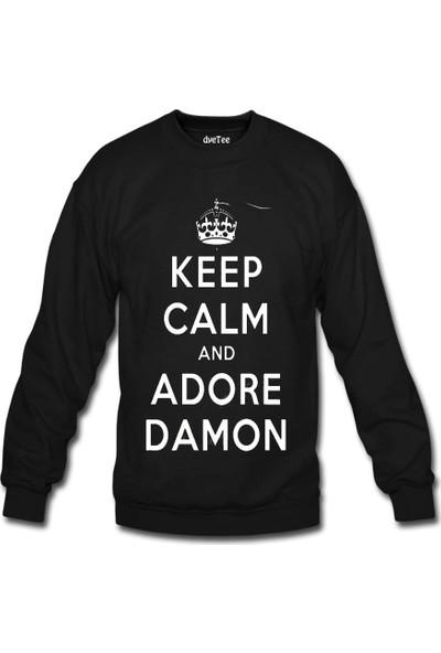 Dyetee Vampire Diaries Keep Calm Kadın Sweatshirt