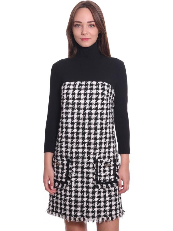 Ayhan Kadın Elbise 61167 Siyah-Ekru