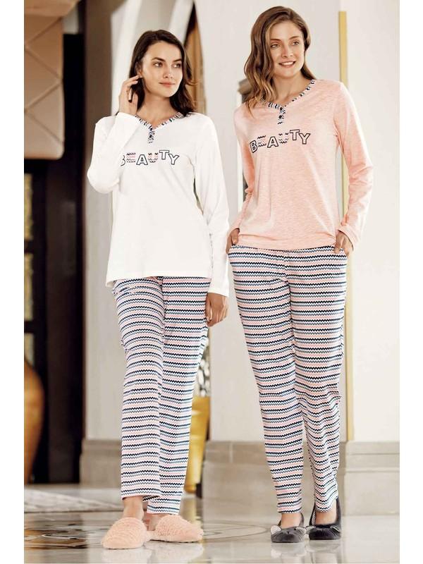 Ekru Zikzak Desenli Pijama Takımı