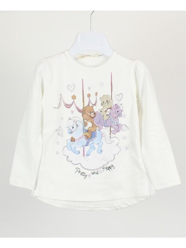 Minipomes 1 - 4 Yaş Kız Çocuk Ayıcık Baskılı Sweatshirt