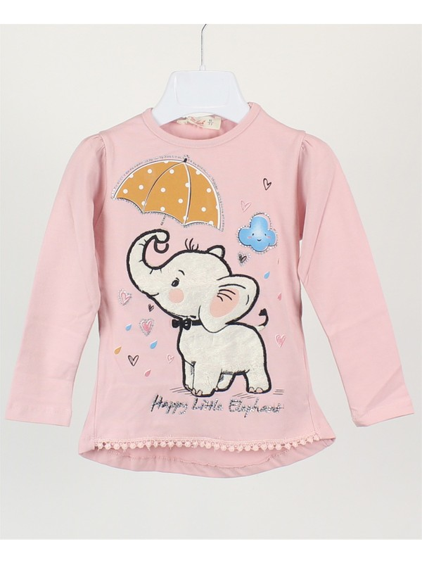 Minipomes 1 - 4 Yaş Kız Çocuk Uçları Dantelli Filli Sweatshirt