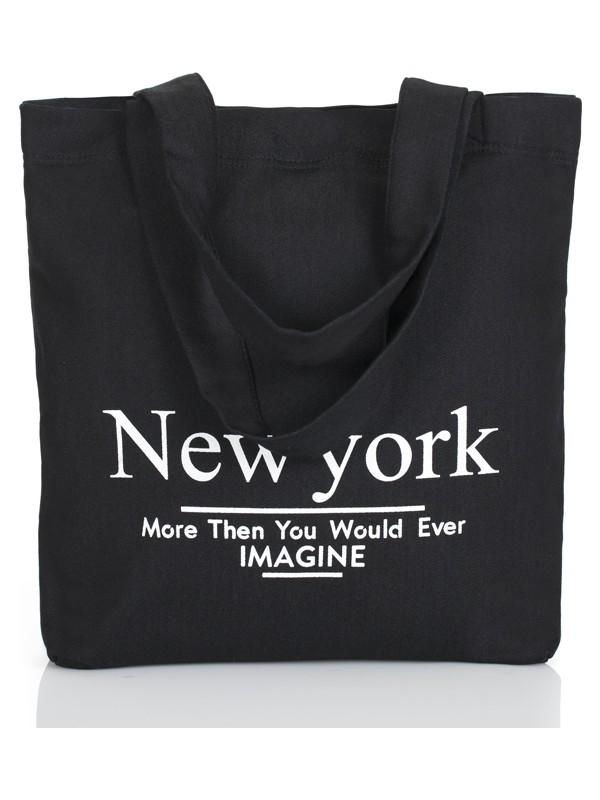 Baagistanbul Tasarım Siyah Jean Newyork Baskılı Çanta