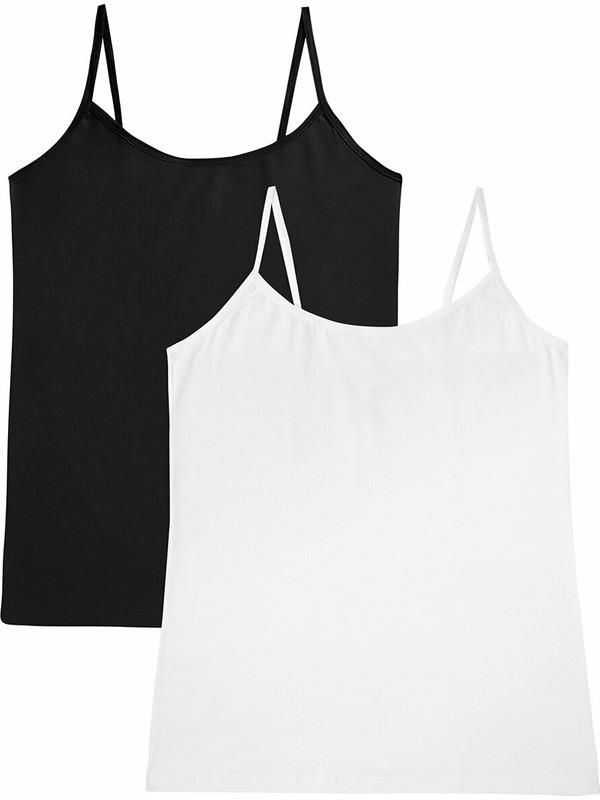 Suwen Soft Touch Cotton İnce Askili Atlet 2 Pack - Siyah/Beyaz