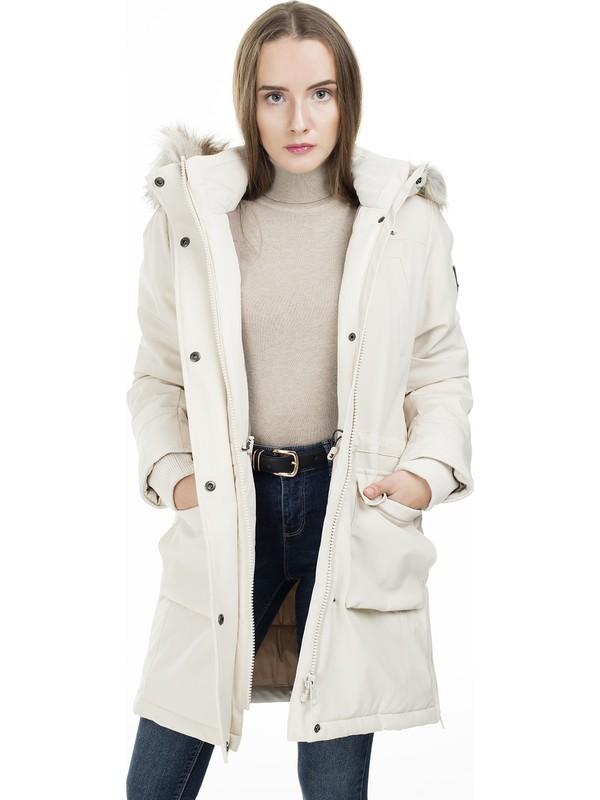 Only Kadın Günlük Mont 15160017-Moonbeam Krem Onlnew Sally Long Nylon Coat Otw