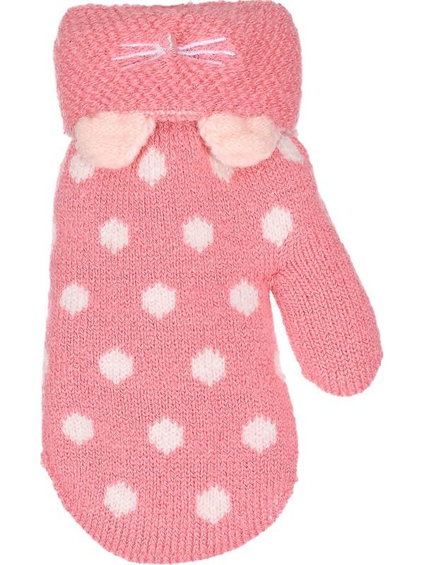 Kitti Çocuk Bebek Kışlık Eldiven Kalın Örme Benekli 1-3 Yaş Pembe K84008