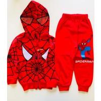 Spider Spiderman Eşofman Takımı Örümcek Adam Kostümü Maskeli Kapüşonlu