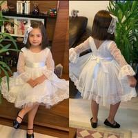 Pumpido Puanlı Tüllü Doğum Günü Düğün Kız Çocuk Elbise 2-5 Yaş