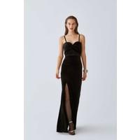 Roman Askılı ve Yırtmaçlı Siyah Abiye Elbise-K2011338-001