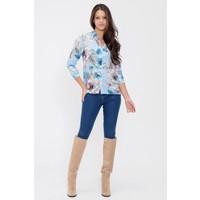 New Laviva Çiçek Desenli Uzun Kollu Mavi Kadın Gömlek