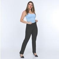 Osman Bey Kadın Büyük Beden Beli Tam Lastikli Yüksek Bel Likralı Kumaş Pantolon Gri