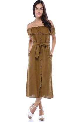 Orfeonegro Kadın Hardal Önden Düğmeli Madonna Yaka Elbise
