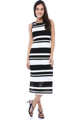 Bebeplus Kadın Sıfır Kol Çizgili Çift Renk Elbise