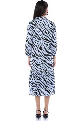 Fk Pineapple Kadın Mavi Etek Uçları Fır fır Detaylı Zebra Desenli Elbise