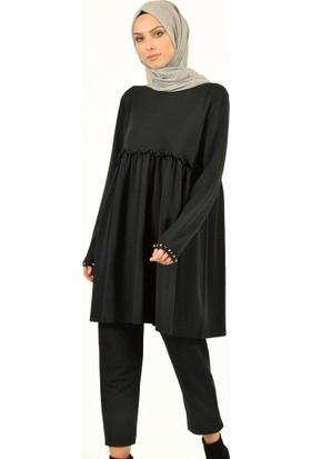 Plistre Pantalon&Amp;Amp;Tunik İkili Takım Siyah