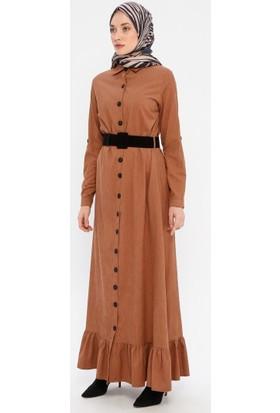 Bürün Hardal Kemerli Fitilli Kadife Elbise